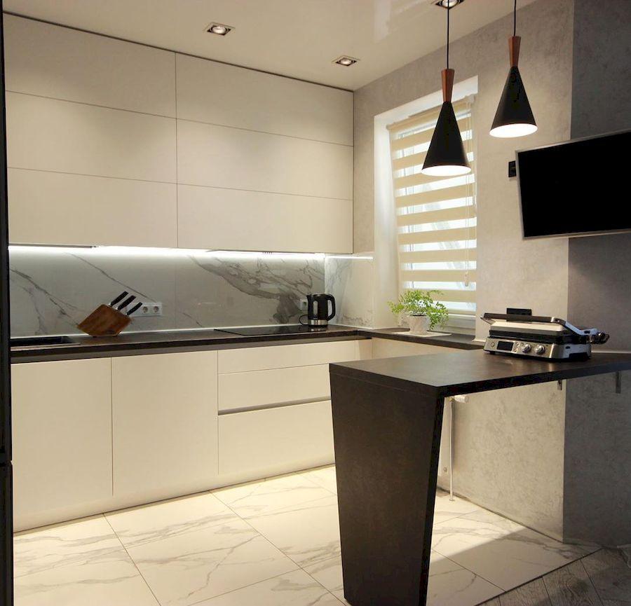 Белый кухонный гарнитур-Кухня МДФ в ПВХ «Модель 660»-фото1