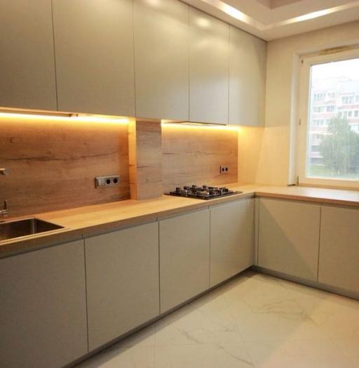 Бежевые кухни-Кухня МДФ в эмали «Модель 661»-фото8